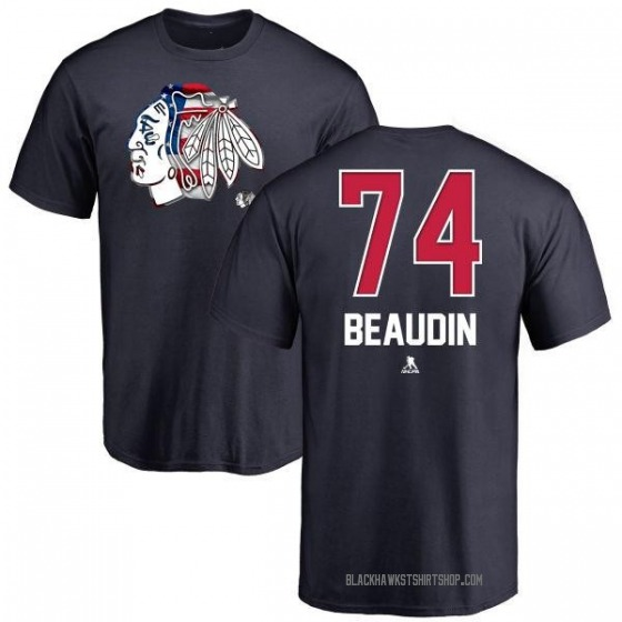 Men's Nicolas Beaudin Chicago Blackhawks Name and Number Banner Wave T-Shirt - Navy