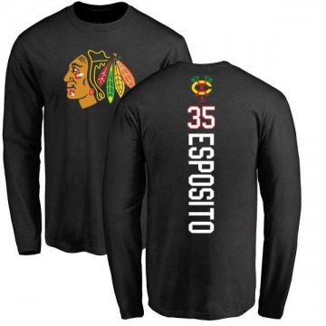 Men's Tony Esposito Chicago Blackhawks Backer Long Sleeve T-Shirt - Black