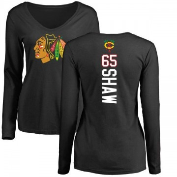 Women's Andrew Shaw Chicago Blackhawks Backer Long Sleeve T-Shirt - Black