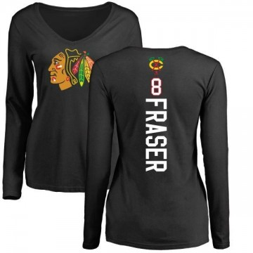 Women's Curt Fraser Chicago Blackhawks Backer Long Sleeve T-Shirt - Black