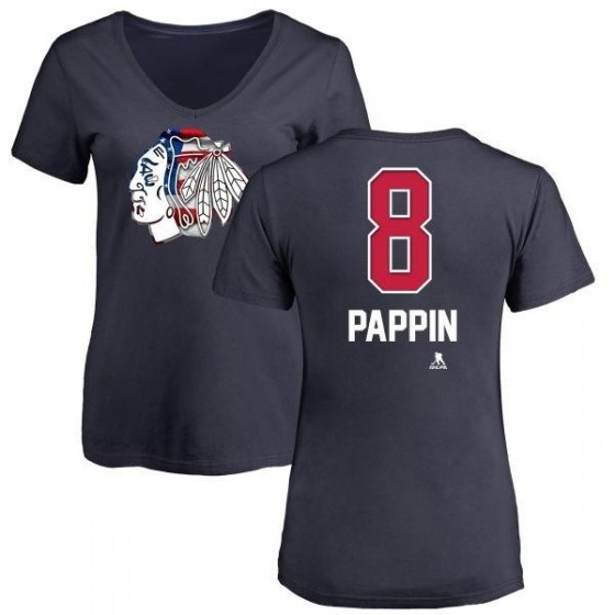 Women's Jim Pappin Chicago Blackhawks Name and Number Banner Wave V-Neck T-Shirt - Navy