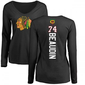 Women's Nicolas Beaudin Chicago Blackhawks Backer Long Sleeve T-Shirt - Black