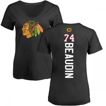 Women's Nicolas Beaudin Chicago Blackhawks Backer T-Shirt - Black