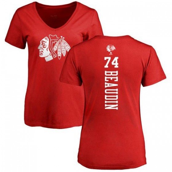 Women's Nicolas Beaudin Chicago Blackhawks One Color Backer T-Shirt - Red
