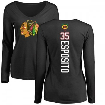 Women's Tony Esposito Chicago Blackhawks Backer Long Sleeve T-Shirt - Black