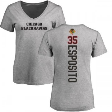 Women's Tony Esposito Chicago Blackhawks Backer T-Shirt - Ash