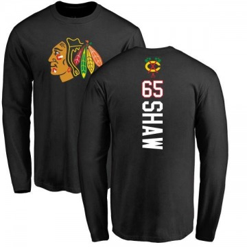 Youth Andrew Shaw Chicago Blackhawks Backer Long Sleeve T-Shirt - Black