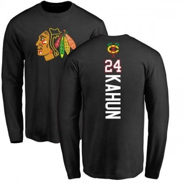 Youth Dominik Kahun Chicago Blackhawks Backer Long Sleeve T-Shirt - Black